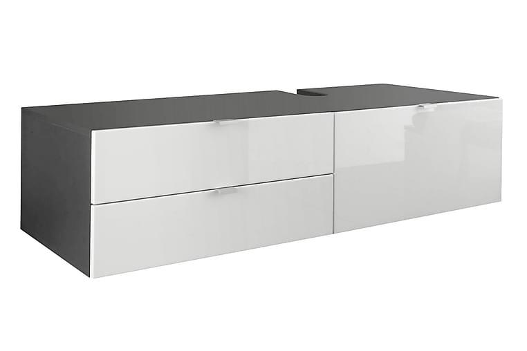 Pesuallaskaappi Sonia 140 cm - Harmaa/korkeakiiltovalkoinen - Kylpyhuone - Kylpyhuonekalusteet - Allaskaapit