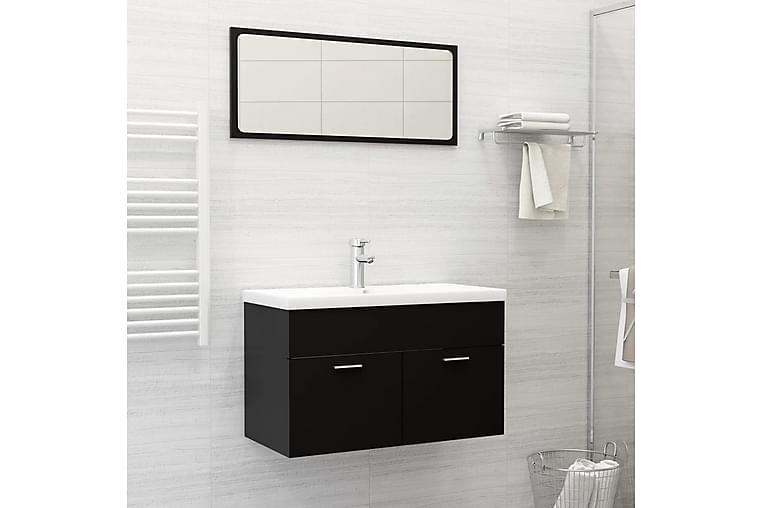 2-osainen Kylpyhuoneen kalustesarja musta lastulevy - Musta - Kylpyhuone - Kylpyhuonekalusteet - Kylpyhuonekaapit