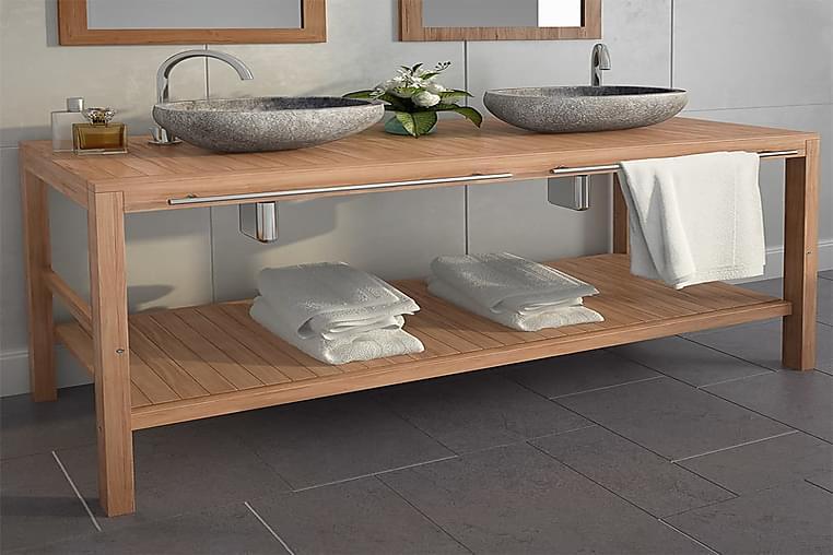 Kylpyhuoneen allaskaappisetti kiinteä tiikki & jokikivialtaa - Ruskea - Kylpyhuone - Kylpyhuonekalusteet - Kylpyhuonekaapit
