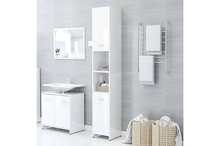 Kylpyhuonekaappi korkeakiilto valkoinen 30x30x183,5cm - Kylpyhuone - Kylpyhuonekalusteet - Kylpyhuonekaapit