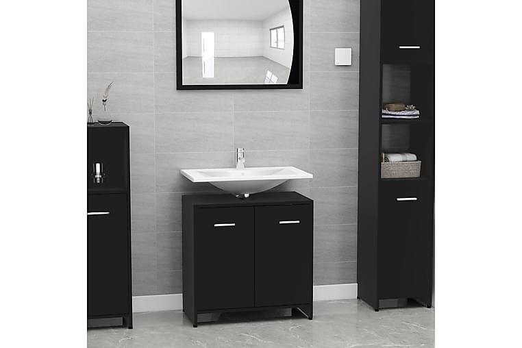 Kylpyhuonekaappi musta 60x33x58 cm lastulevy - Musta - Kylpyhuone - Kylpyhuonekalusteet - Kylpyhuonekaapit