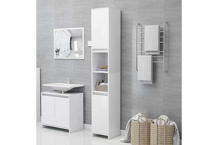 Kylpyhuonekaappi valkoinen 30x30x183,5 cm lastulevy - Kylpyhuone - Kylpyhuonekalusteet - Kylpyhuonekaapit