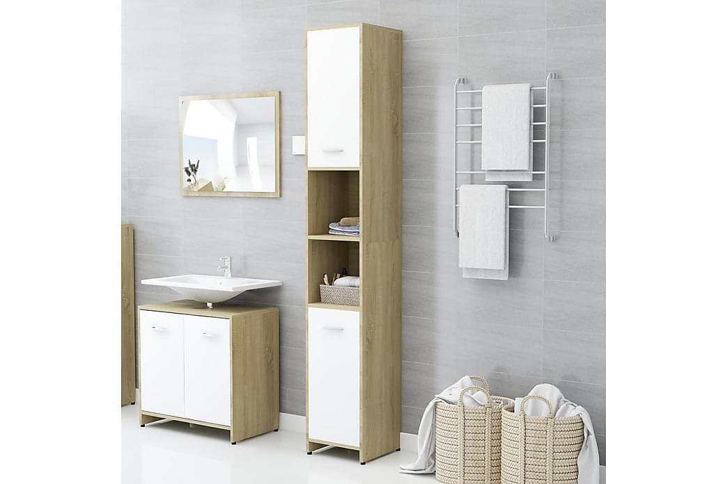 Kylpyhuonekaappi valkoinen/Sonoma-tammi 30x30x183,5cm - Kylpyhuone - Kylpyhuonekalusteet - Kylpyhuonekaapit