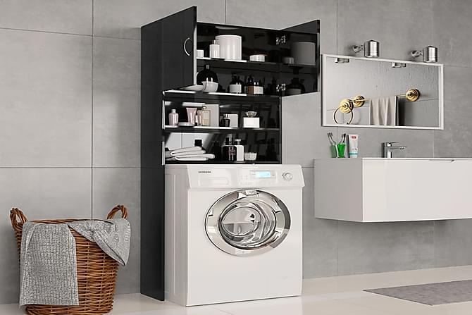 Pesukonekaappi korkeakiilto musta 64x25,5x190 cm lastulevy - Valkoinen - Kylpyhuone - Kylpyhuonekalusteet - Kylpyhuonekaapit