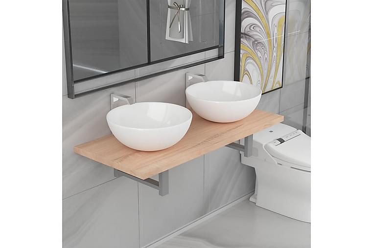 3-osainen Kylpyhuoneen kalustesarja keraaminen tammi - Ruskea - Kylpyhuone - Kylpyhuonekalusteet - Kylpyhuonekalustepaketit