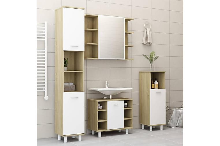 3-osainen kylpyhuoneen kalustesarja valkoinen/sonoma - Beige - Kylpyhuone - Kylpyhuonekalusteet - Kylpyhuonekalustepaketit