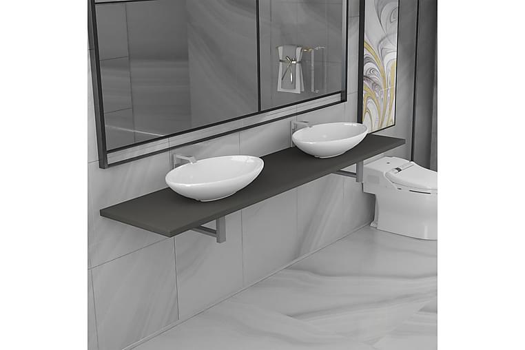 Kolmiosainen kylpyhuoneen kalustesarja keraaminen harmaa - Harmaa - Kylpyhuone - Kylpyhuonekalusteet - Kylpyhuonekalustepaketit