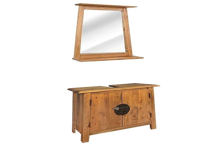 Kylpyhuoneen huonekalusarja kiinteä kierrätetty mänty - Ruskea - Kylpyhuone - Kylpyhuonekalusteet - Kylpyhuonekalustepaketit