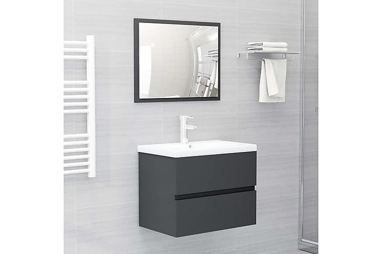 Kylpyhuoneen kalustesarja harmaa lastulevy - Kylpyhuone - Kylpyhuonekalusteet - Kylpyhuonekalustepaketit