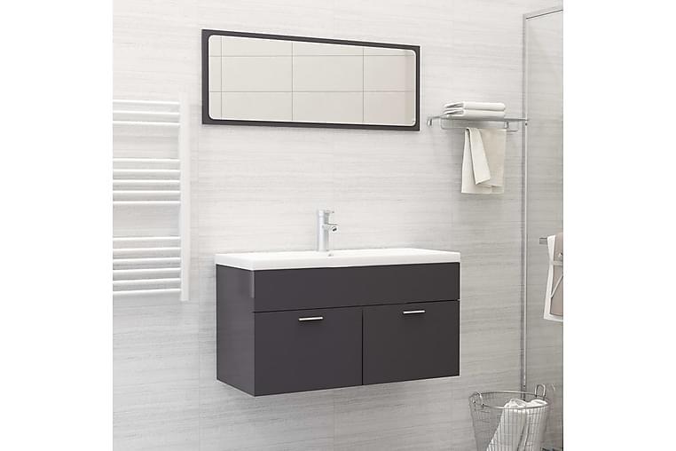 Kylpyhuoneen kalustesarja korkeakiilto harmaa lastulevy - Harmaa - Kylpyhuone - Kylpyhuonekalusteet - Kylpyhuonekalustepaketit