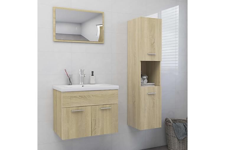 Kylpyhuoneen kalustesarja Sonoma-tammi lastulevy - Ruskea - Kylpyhuone - Kylpyhuonekalusteet - Kylpyhuonekalustepaketit