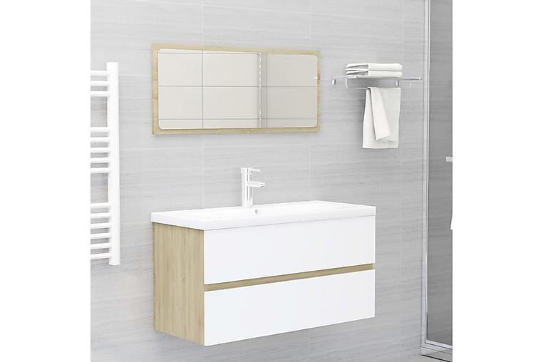 Kylpyhuoneen kalustesarja valkoinen ja Sonoma-tammi - Kylpyhuone - Kylpyhuonekalusteet - Kylpyhuonekalustepaketit