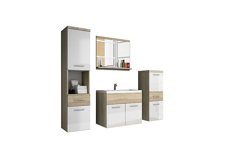 Kylpyhuonesetti Alba - Tammi/Valkoinen/Korkeakiilto - Kylpyhuone - Kylpyhuonekalusteet - Kylpyhuonekalustepaketit