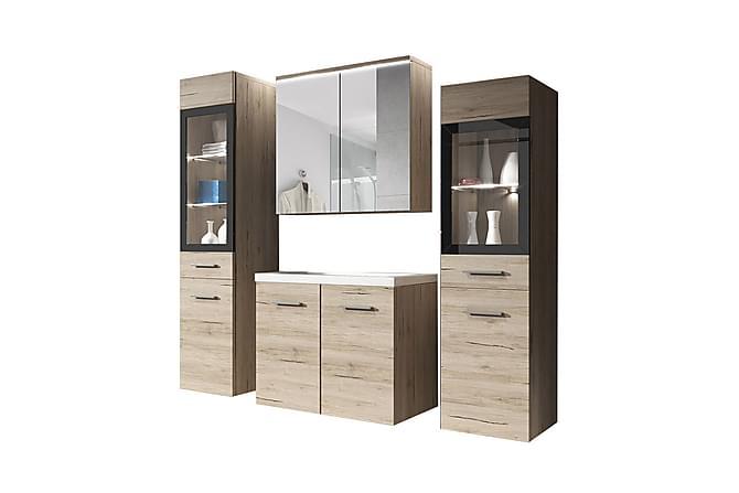 Kylpyhuonesetti Udine - Beige - Kylpyhuone - Kylpyhuonekalusteet - Kylpyhuonekalustepaketit