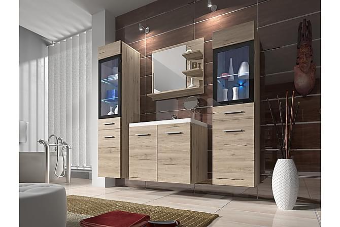 Kylpyhuonesetti Udine - Beige/Harmaa - Kylpyhuone - Kylpyhuonekalusteet - Kylpyhuonekalustepaketit