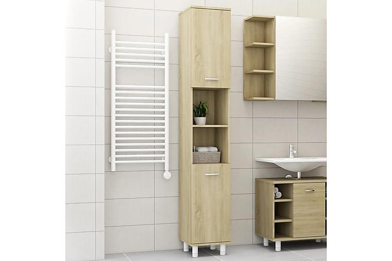 Kylpyhuonekaappi Sonoma-tammi 30x30x179 cm lastulevy - Ruskea - Kylpyhuone - Kylpyhuonekalusteet - Seinäkaapit & korkeat kaapit