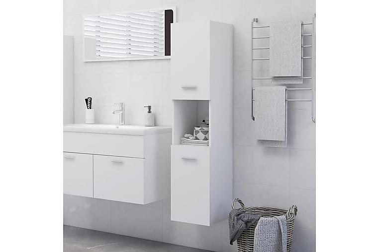 Kylpyhuonekaappi valkoinen 30x30x130 cm lastulevy - Valkoinen - Kylpyhuone - Kylpyhuonekalusteet - Seinäkaapit & korkeat kaapit