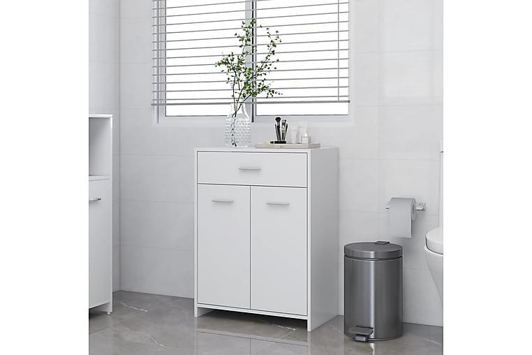 Kylpyhuonekaappi valkoinen 60x33x80 cm lastulevy - Valkoinen - Kylpyhuone - Kylpyhuonekalusteet - Seinäkaapit & korkeat kaapit