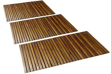 3 kpl Akaasia Kylpyhuoneen Matto 80 x 50 cm
