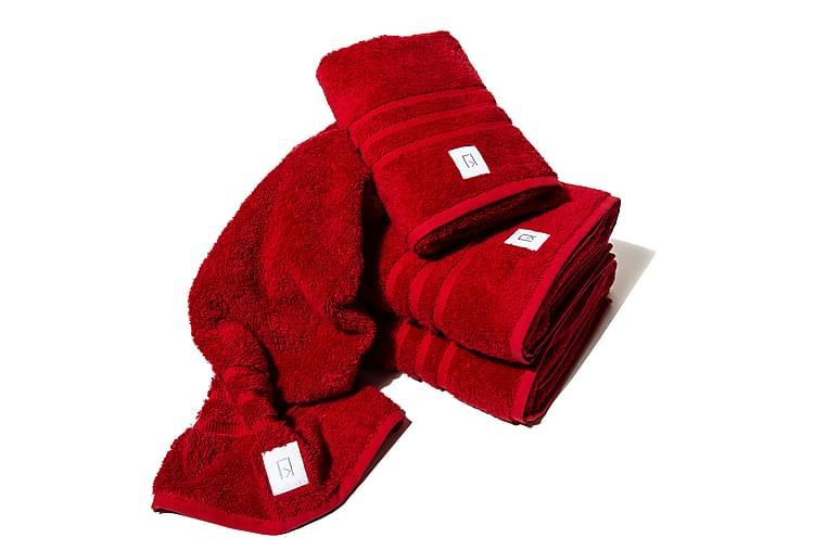 Setti Kosta Linnewäfveri 2 kpl 70x50 cm ja 2 kpl 150x90 cm - Punainen - Kylpyhuone - Kylpyhuonetekstiilit - Pyyhkeet