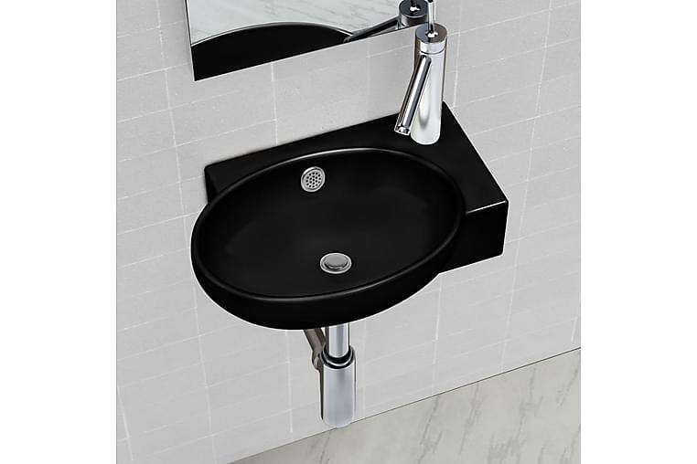 Keraaminen Kylpyhuoneen Pesuallas Hanareiällä Musta Pyöreä - Musta - Kylpyhuone - Pesualtaat - Pesuallas