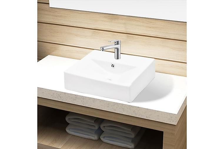 Keraaminen Pesuallas Hana-/Ylivuotoaukolla Suorakaide - Valkoinen - Kylpyhuone - Pesualtaat - Pesuallas