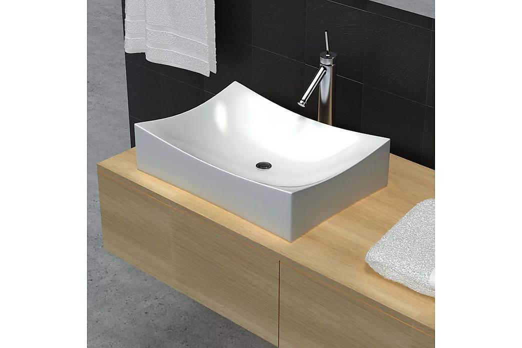 Kylpyhuone Keraaminen Posliini Pesuallas Lavuaari Kiiltävä - Valkoinen - Kylpyhuone - Pesualtaat - Pesuallas