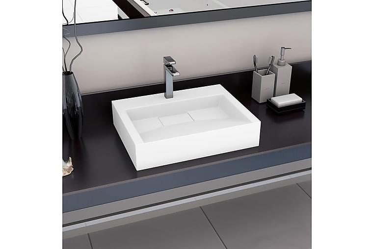 Pesuallas 60x38x11 cm mineraali-/marmorivalu valkoinen - Valkoinen - Kylpyhuone - Pesualtaat - Pesuallas