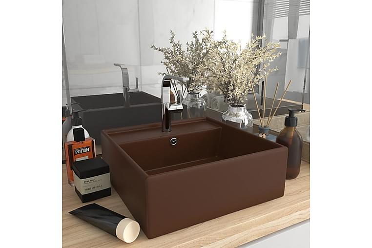 Ylellinen pesuallas neliö matta tummanruskea 41x41 cm - Kylpyhuone - Pesualtaat - Pesuallas