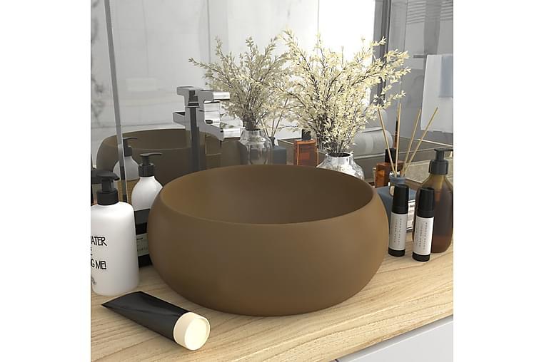 Ylellinen pesuallas pyöreä matta kerma 40x15 cm keraami - Kylpyhuone - Pesualtaat - Pesuallas