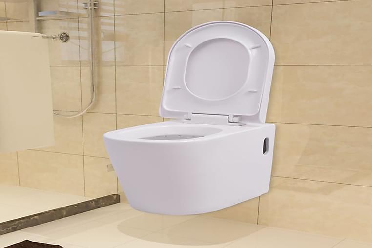 Seinäkiinnitettävä WC Keraaminen Valkoinen - Valkoinen - Kylpyhuone - WC-istuimet - Seinä-WC