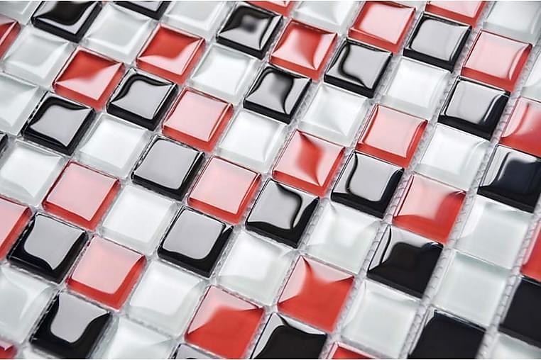 Kristallimosaiikki Red Checkers 30X30 - Seinälaatat & Lattialaatat - Mosaiikki - Kristallimosaiikki