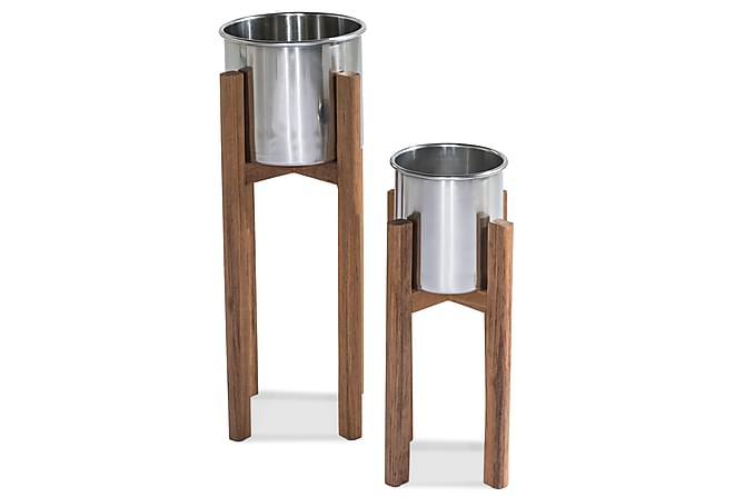 Ruukku Båstad - Tiikki/Harjattu alumiini - Piha - Kukkaruukut - Suuret kukkaruukut