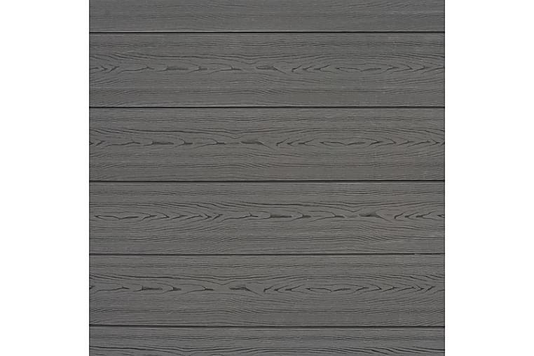 Aitasarja 5 osaa puukomposiitti neliö 872x185 cm harmaa - Harmaa - Piha - Puutarhakoristeet & pihatarvikkeet - Aidat & portit