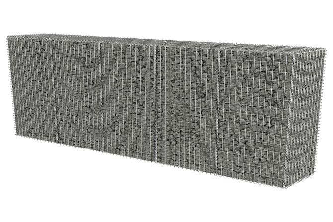 Gabionseinä kansilla galvanoitu teräs 300x50x150 cm - Hopea - Piha - Puutarhakoristeet & pihatarvikkeet - Aidat & portit