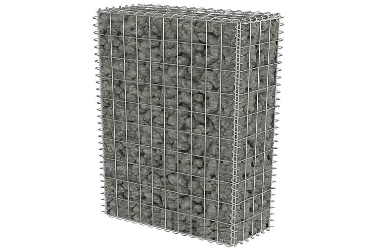 Gabionseinä kansilla galvanoitu teräs 50x20x100 cm - Hopea - Piha - Puutarhakoristeet & pihatarvikkeet - Aidat & portit