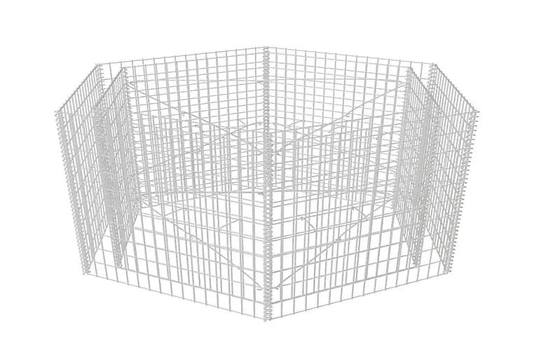 Korotettu kuusikulmainen gabion-/kivikorikehys 160x140x100cm - Hopea - Piha - Puutarhakoristeet & pihatarvikkeet - Aidat & portit