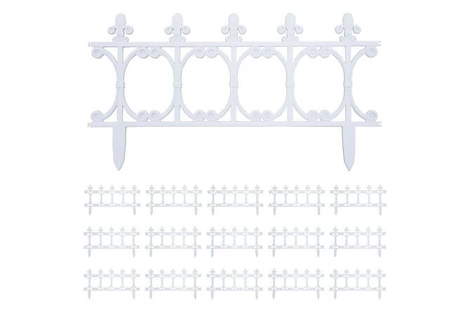 Nurmikonreunukset 16 kpl valkoinen 10 m PP - Valkoinen - Piha - Puutarhakoristeet & pihatarvikkeet - Aidat & portit