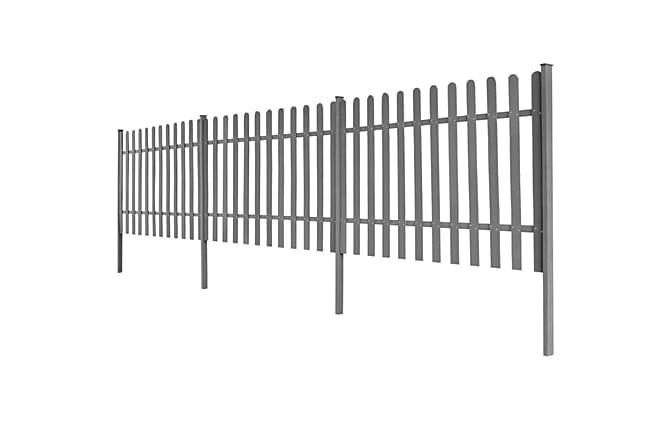 WPC Puuaita Tolpilla 3 kpl 6m Pitkä 120 cm Korkea Harmaa - Harmaa - Piha - Puutarhakoristeet & pihatarvikkeet - Aidat & portit