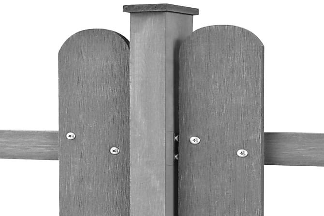 WPC Puuaita Tolpilla 3 kpl 6m Pitkä 80cm Korkea Harmaa - Harmaa - Piha - Puutarhakoristeet & pihatarvikkeet - Aidat & portit