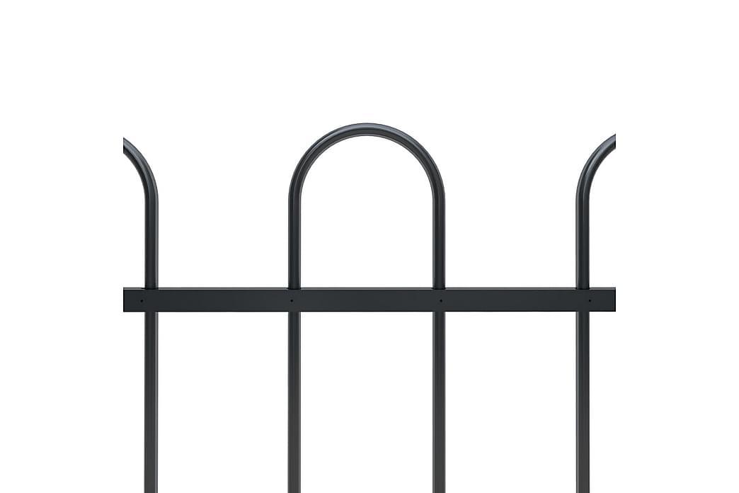 Puutarha-aita kaarikärjillä 5,1x1,5 m teräs musta - Musta - Piha - Puutarhakoristeet & pihatarvikkeet - Aidat & portit