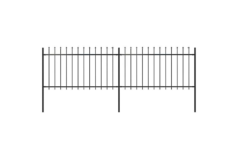 Puutarha-aita keihäänkärjillä 3,4x1 m teräs musta - Musta - Piha - Puutarhakoristeet & pihatarvikkeet - Aidat & portit
