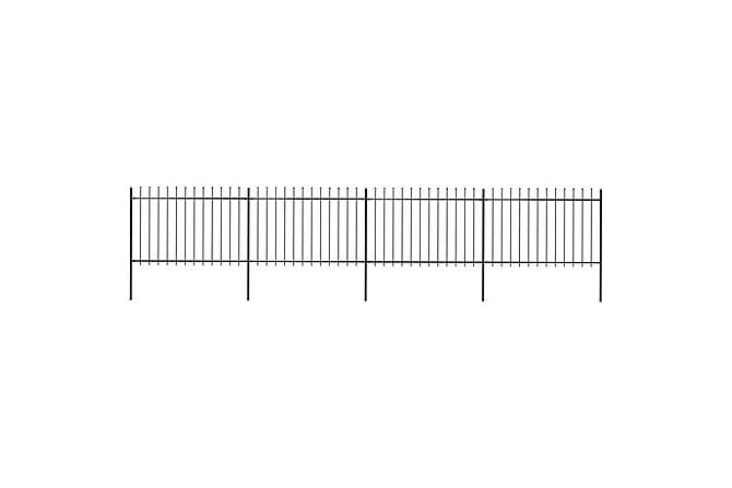 Puutarha-aita keihäänkärjillä 6,8x1,2 m teräs musta - Musta - Piha - Puutarhakoristeet & pihatarvikkeet - Aidat & portit