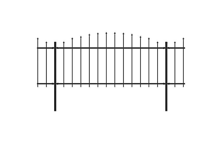 Puutarha-aita keihäskärjillä teräs (0,5-0,75)x15,3 m musta - Musta - Piha - Puutarhakoristeet & pihatarvikkeet - Aidat & portit