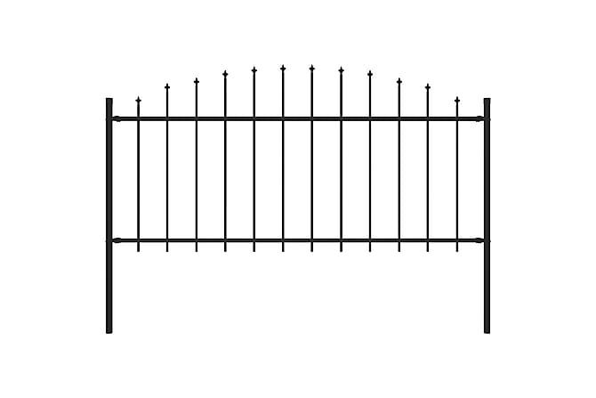 Puutarha-aita keihäskärjillä (0,5-0,75)x1,7 m teräs musta - Musta - Piha - Puutarhakoristeet & pihatarvikkeet - Aidat & portit
