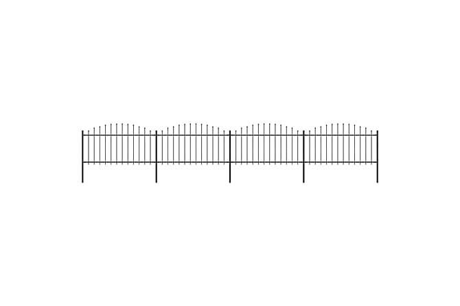 Puutarha-aita keihäskärjillä teräs (1,25-1,5)x6,8 m musta - Musta - Piha - Puutarhakoristeet & pihatarvikkeet - Aidat & portit
