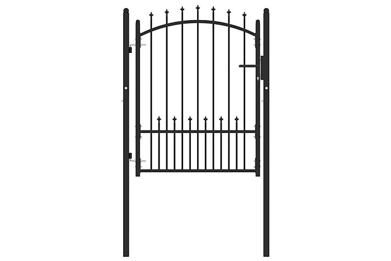 Puutarhaportti piikeillä teräs 100x125 cm musta - Piha - Puutarhakoristeet & pihatarvikkeet - Aidat & portit