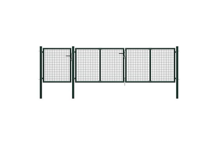 Puutarhaportti teräs 400x100 cm vihreä - Vihreä - Piha - Puutarhakoristeet & pihatarvikkeet - Aidat & portit