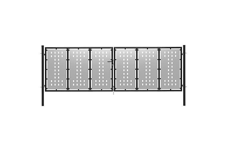 Puutarhaportti teräs 400x75 cm hopea - Hopea - Piha - Puutarhakoristeet & pihatarvikkeet - Aidat & portit