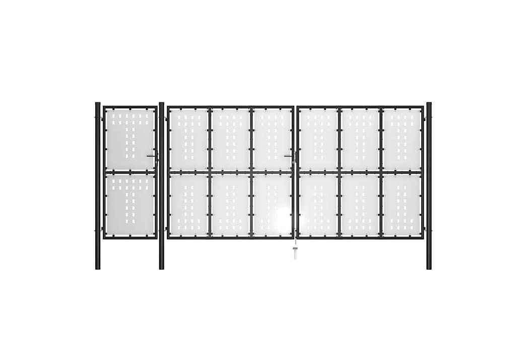 Puutarhaportti teräs 500x175 cm musta - Piha - Puutarhakoristeet & pihatarvikkeet - Aidat & portit